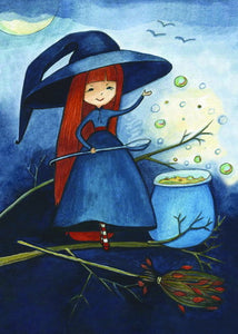 little witch postcard, witch postcard, halloween postcard