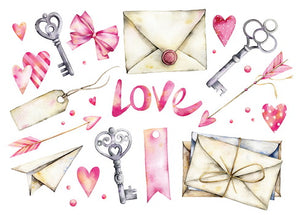 valentine postcard, Love letters card,  Love letters valentine