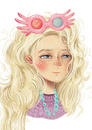 luna lovegood postcard, harry potter postcard, luna postcard