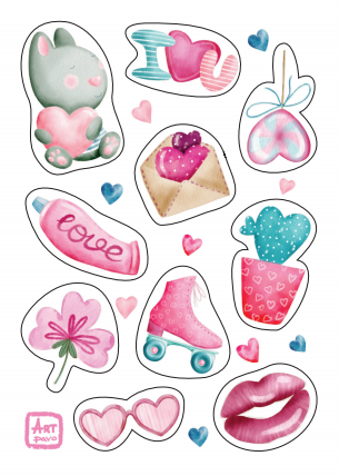 romantic stickers, set of romantic stickers, heart stickers