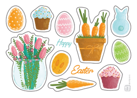 Easter Stickers, happy easter stickers