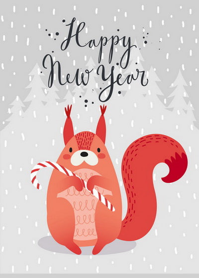 happy New Year's set of postcards, New Year postcards, winter holidays set of greeting cards