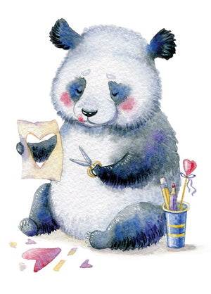 panda card, postcard with a panda, panda postcard