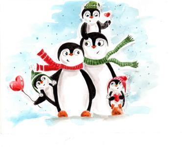 Penguins postcard, family postcard, winter card, penguin family postcard