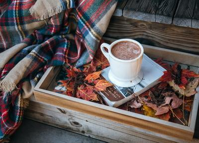 Cocoa postcard, autumn postcard, autumn  flatlay postcard
