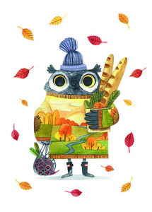 owl postcard, fall postcard, autumn postcard