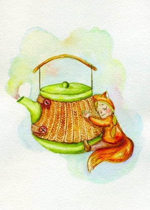 autumn postcard, postcard with teapot, card with squirrel