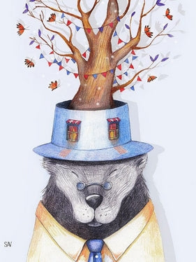 postcard bear, postcard tree