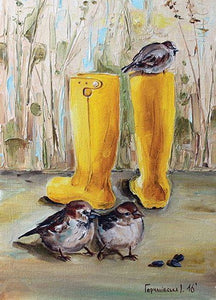 Sparrows Postcard, boots postcard
