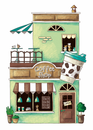 cafe postcard, coffee store postcard, coffee shop postcard