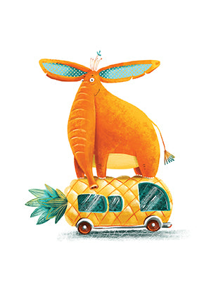 postcard Orange elephant, postcard elephant, postcard orang days