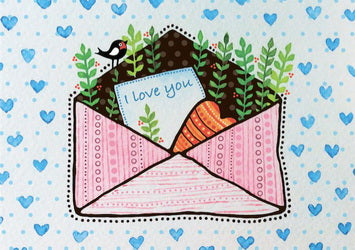 envelope postcard, envelope with heart postcard, love postcard