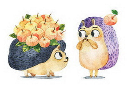 hedgehogs postcard, apples postcard