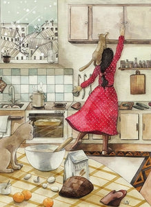 postcard Kitchen, postcard for you Kitchen, girl card