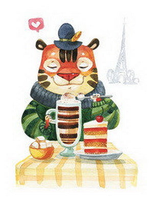 paris cafe postcard, paris postcard, tiger postcard, cafe postcard