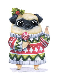 beautiful card for christmas, pug postcard