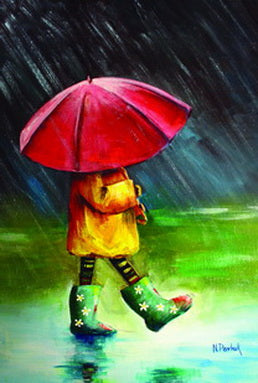 raine postcard, umbrella postcard, girl under the rain postcard