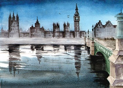 London bridges postcard, Westminster Bridge postcard