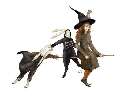 witch postcard, witches broomstick postcard, witch hat postcard, halloween witch postcard