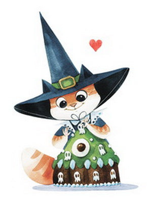 witch postcard, witch cat postcard