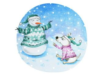 snowmen postcard, winter postcard