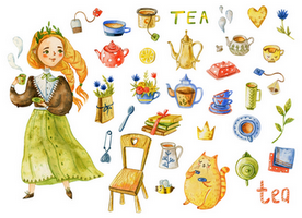 tea stickers, tea party stickers