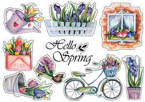 spring stickers, flower stickers, sticker paper