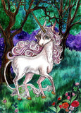 unicorn postcard, white unicorn зщыесфкв