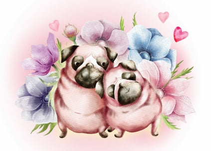 Valentines day card, pugs in love postcard, pugs postcard, love postcard