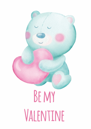 bear valentine card, love card, valentine card for her