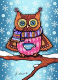 winter owl postcard, winter postcard, owl postcard, night owl postcards