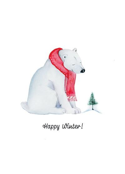 Happy Winter Postcard, polar bear postcard, winter postcard