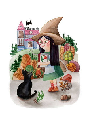 halloween card, postcards for halloween, witch postcard