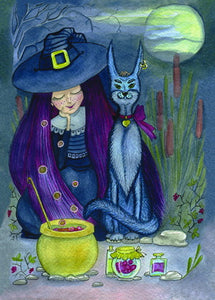 witch postcard, halloween postcard