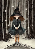 halloween witch, witch postcard, cute with postcard