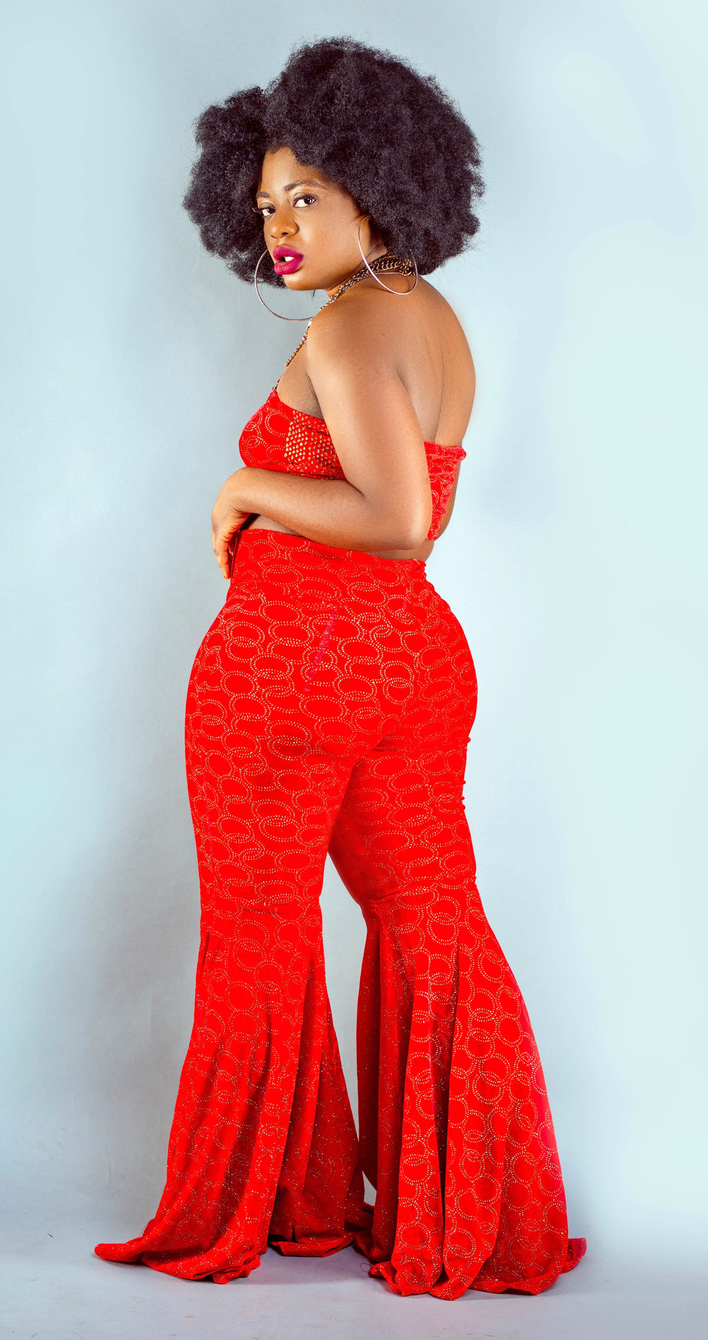 Red Velvet Flared Pant Set