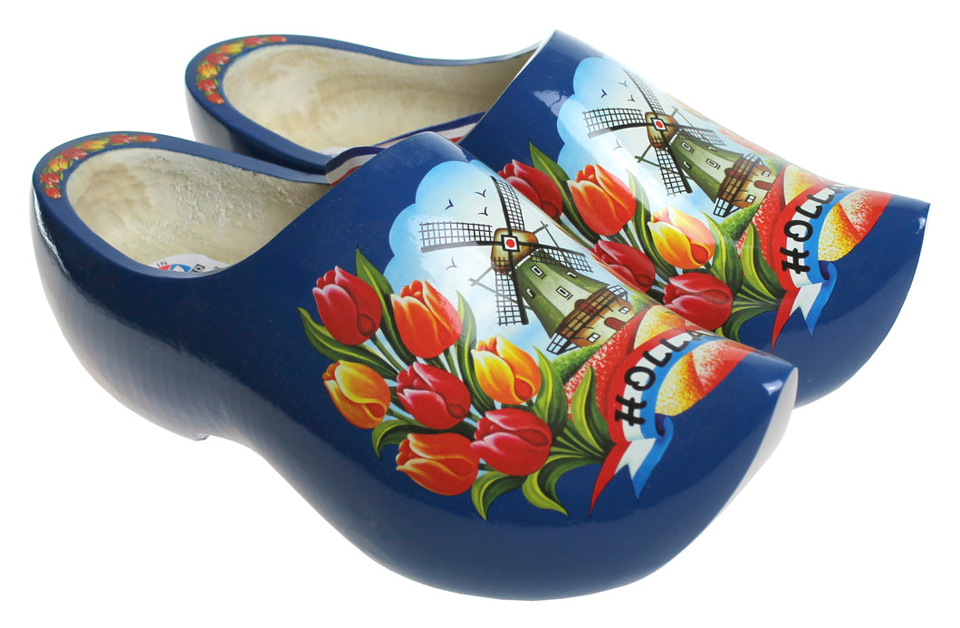 Blue Wooden Shoes Tulip and Windmill