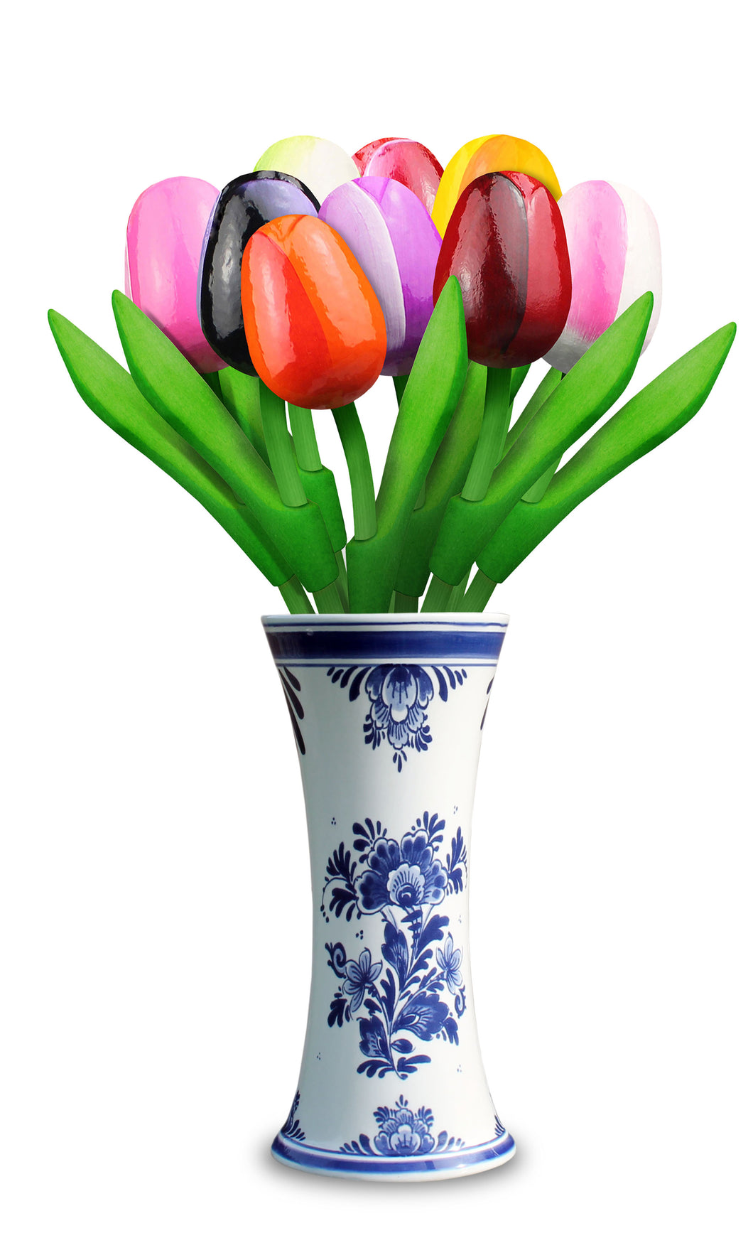 Delft Blue Tulip Vase with 9 Small Wooden Tulips