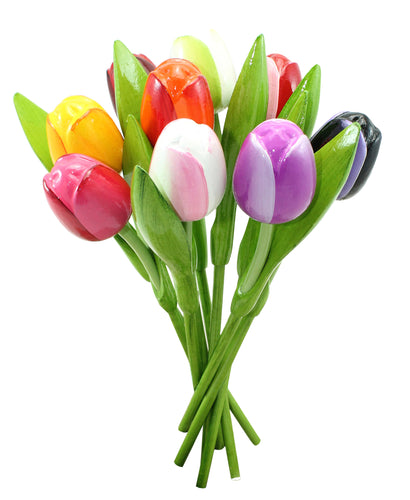 Bouquet of wooden tulips