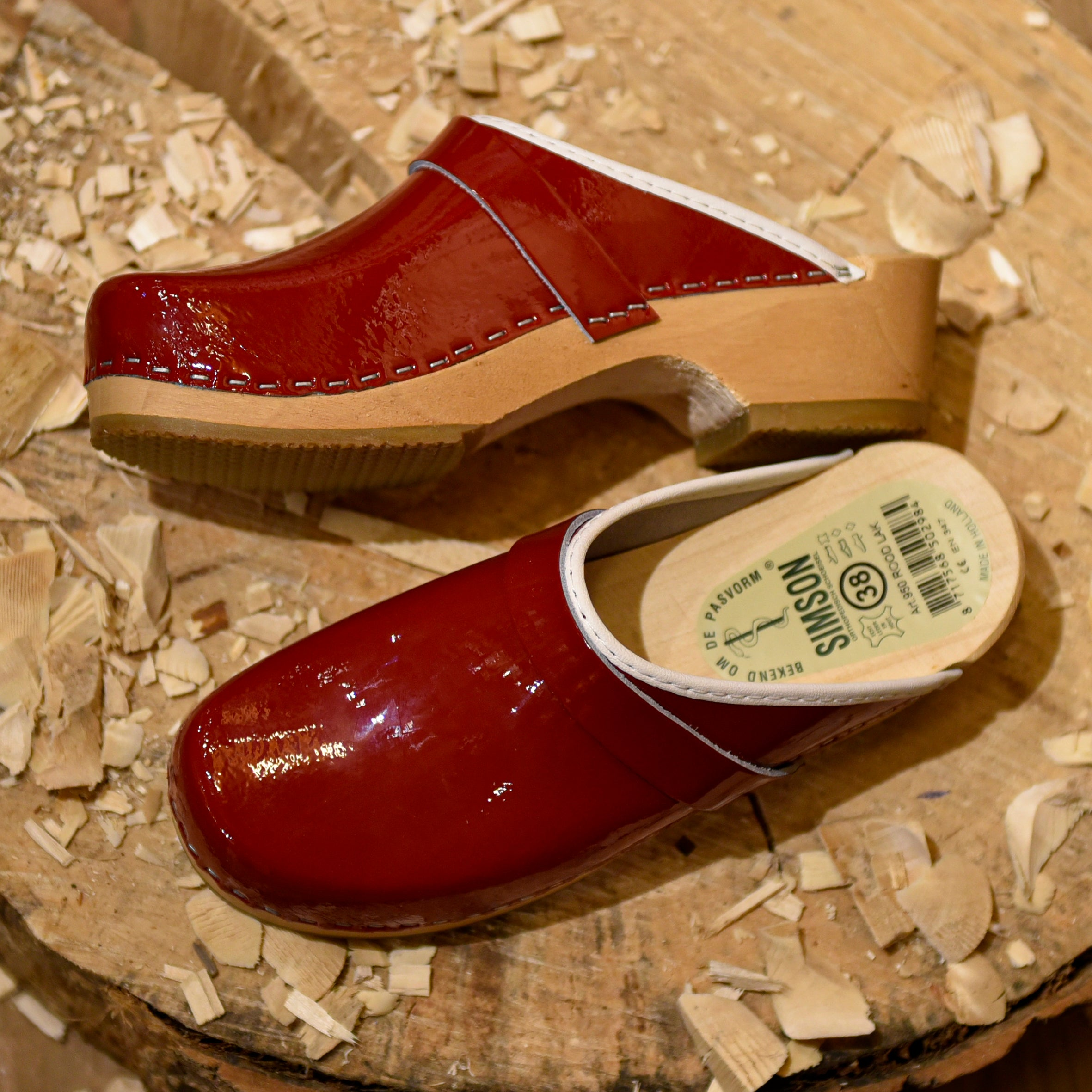 Glossy Red Leather Clogs
