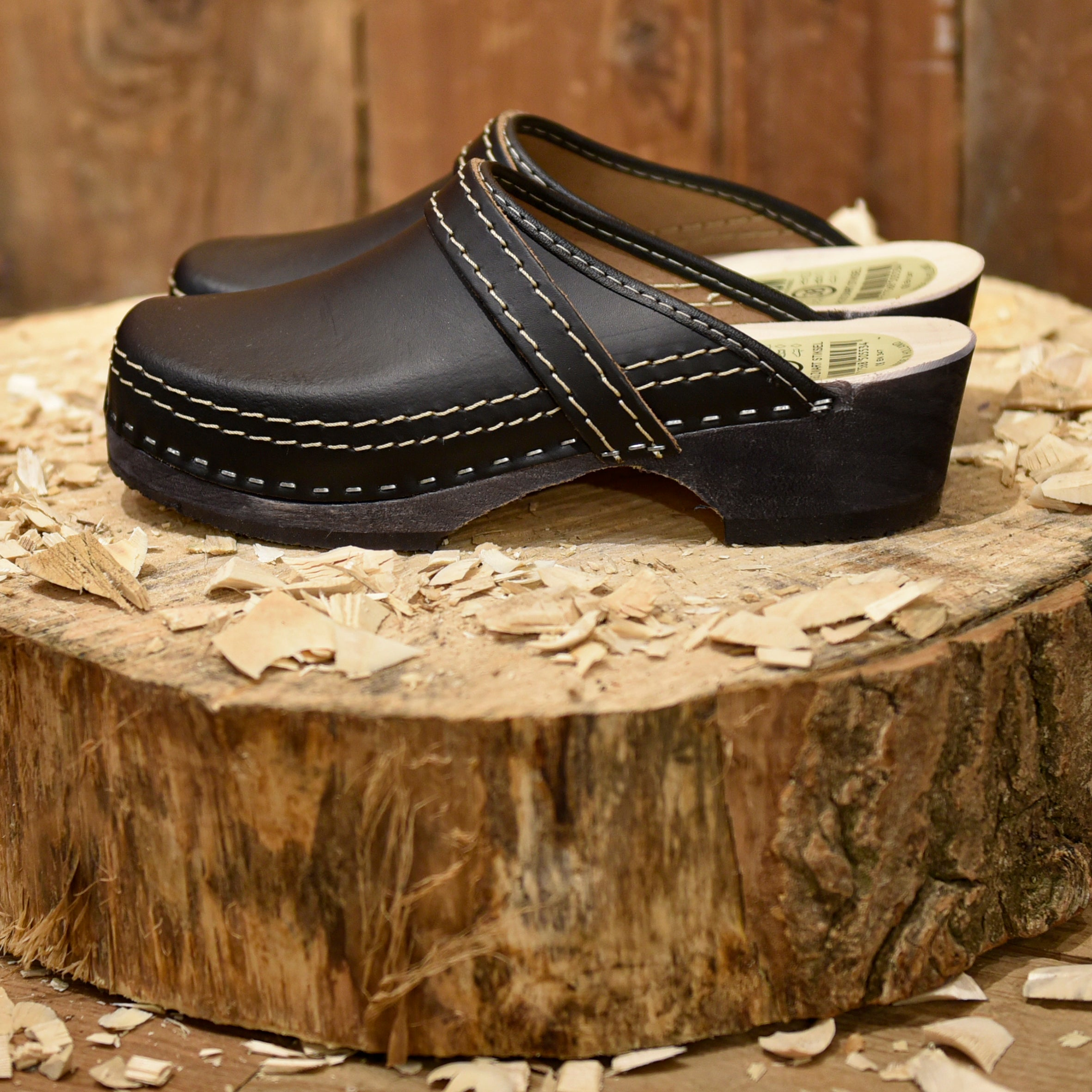 Black Leather Clogs Open