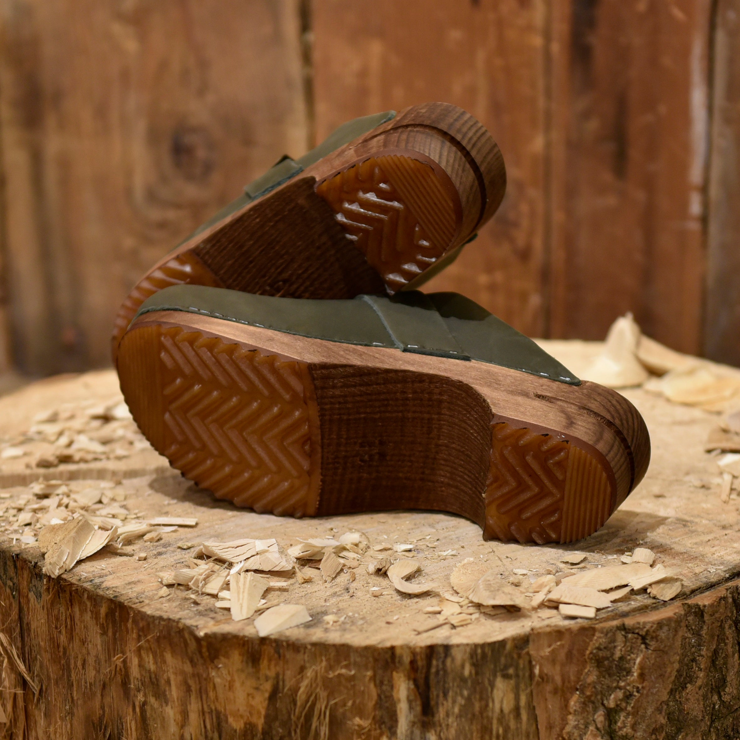 Olive Leather Clogs