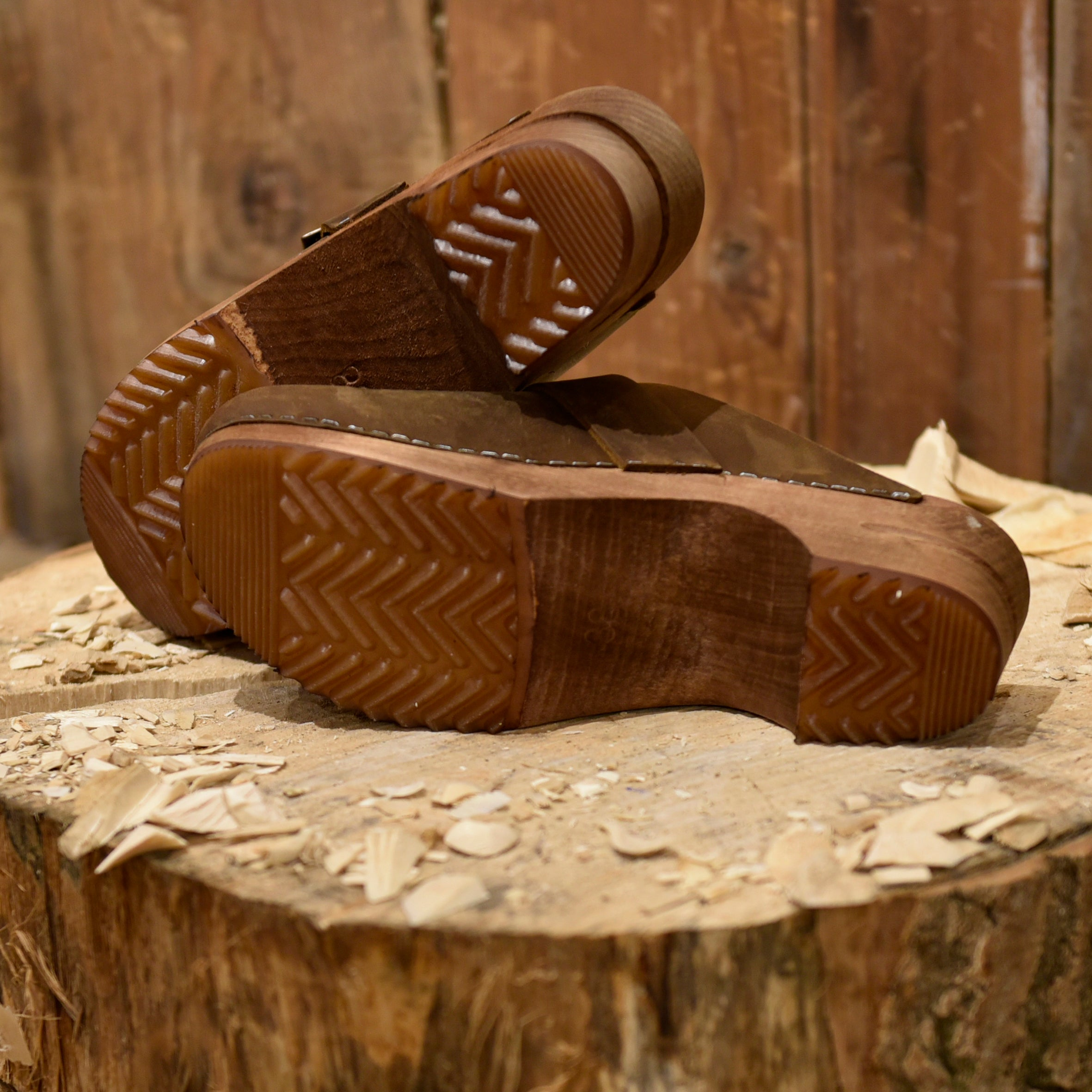 Brown Oil Leather Clogs