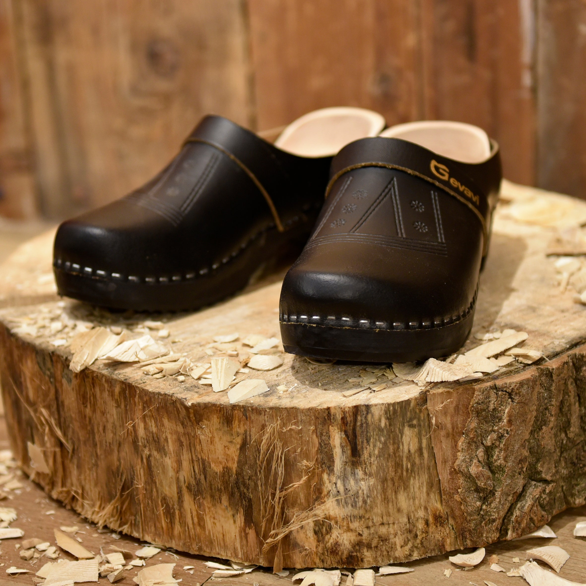 Black Leather Clogs Wooden Back