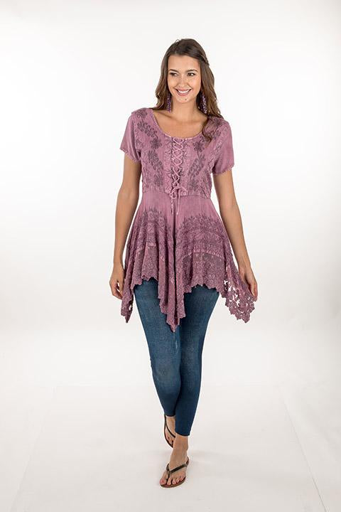 TIE UP LACE DUSKY PINK TOP