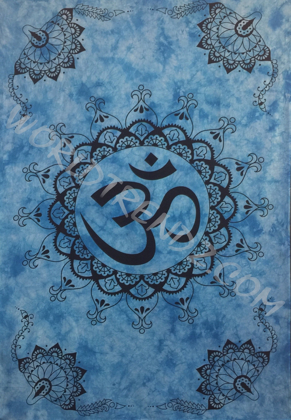 OM LOTUS Lotus CORNERS DESIGN TAPESTRY BLUE