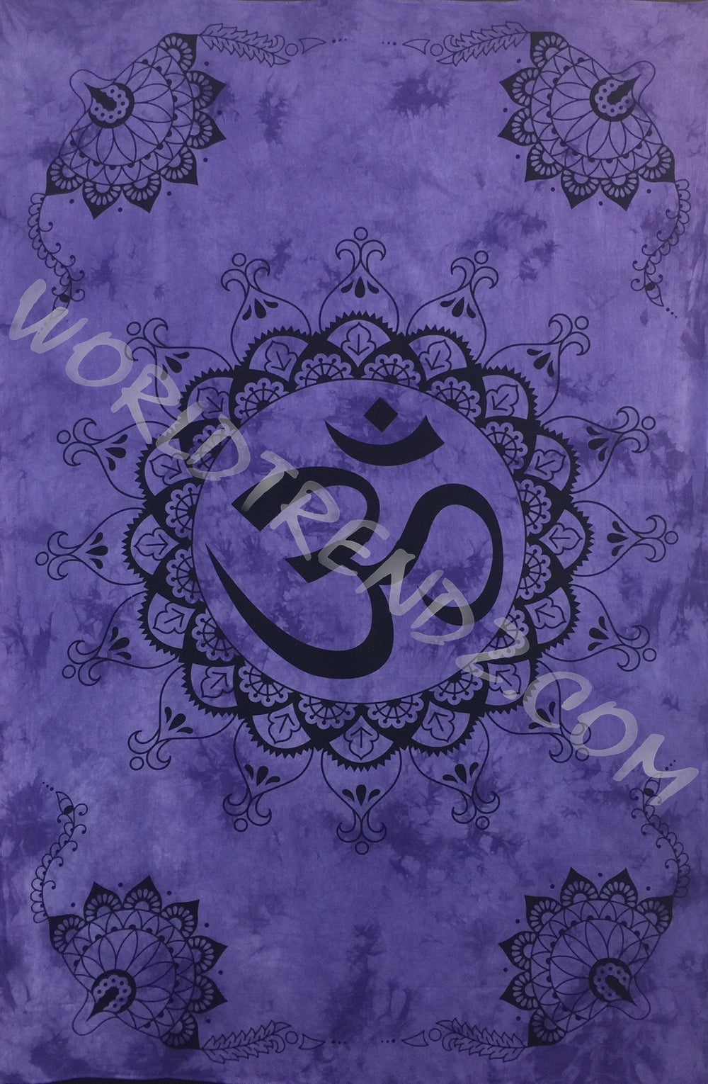 OM LOTUS Lotus CORNERS DESIGN TAPESTRY PURPLE