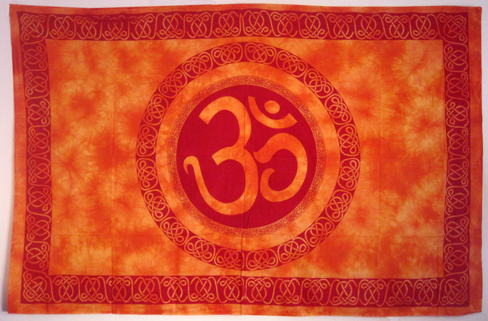 OM CELTIC MANDALA TAPESTRY ORANGE WITH RED