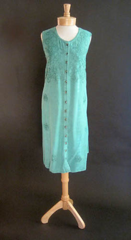 Sun Dress - Sleeveless Button-Up Embroidered