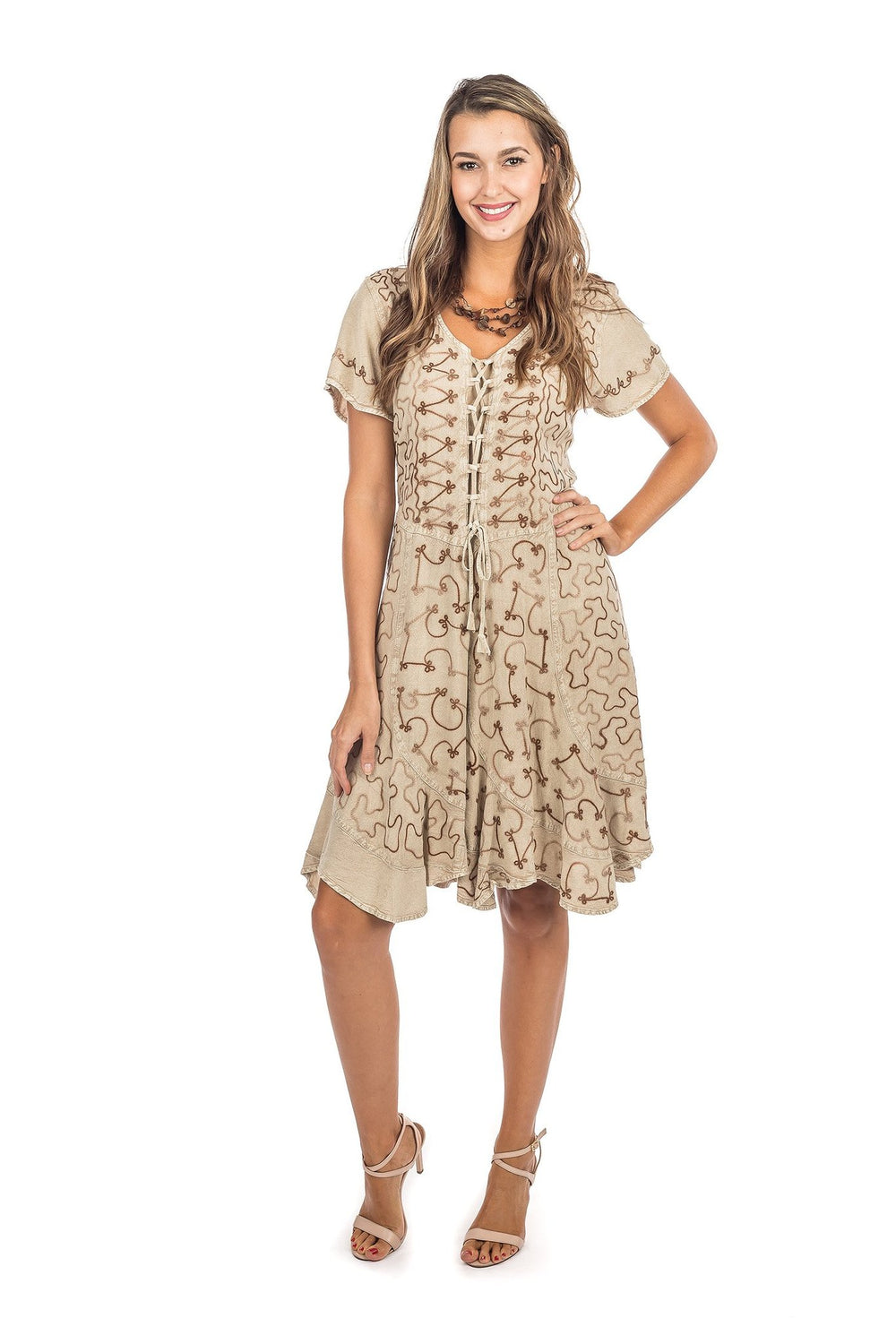 LACE-UP MIDI DRESS-SHORT SLEEVES BEIGE